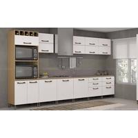 Cozinha Modulada Completa Sem Tampo Com 14 Módulos Sense Nature/Branco - Kappesberg
