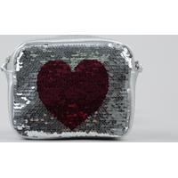 Bolsa Infantil Metalizada Com Paetê Dupla Face Coração Prateada - Único