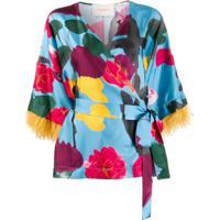 La Doublej Blusa Kimono Prom Azzurro Com Estampa - Preto