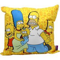 Almofada Aveludada Família Simpsons 40 X 40 Cm Fundo Azul