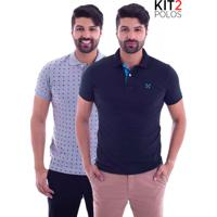 Kit 2 Camisas Polo Live - Seven Preta E Space Invaders Mescla-G