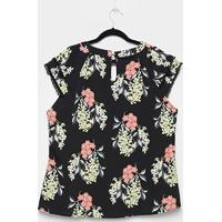 Blusa Lemise Plus Size Floral Guipir Feminina - Feminino-Preto