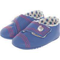 Sapato Pé Com Pé Bordadinhos Azul