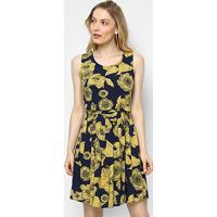 Vestido Top Moda Curto Evasê Estampado - Feminino-Azul+Amarelo
