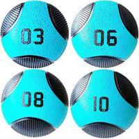 Kit 4 Medicine Ball Liveup Pro 3 6 8 E 10 Kg Bola De Peso Treino Funcional - Unissex