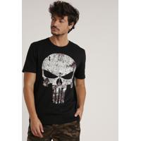 Camiseta Masculina O Justiceiro Manga Curta Gola Careca Preta