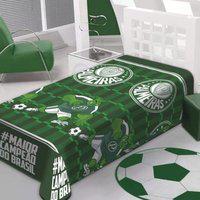 Manta Soft Palmeiras Jolitex Estampada Verde