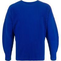 Homme Plissé Issey Miyake Suéter Com Pregas - Azul