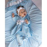 Saída De Maternidade Sônia Enxovais Menina Luxo Alicia Poá Azul