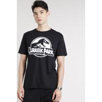 Camiseta Masculina Jurassic Park Brilha No Escuro Manga Curta Gola Careca Preta