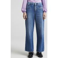 Calça Jeans Feminina Pantalona Mindset Cintura Baixa Com Botões Azul Médio