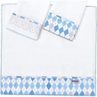 Kit De Fraldas Para Boca London- Branco & Azul Clarobiramar
