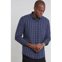 a6e5a3ca5900c CEA  Camisa Masculina Comfort Estampada Xadrez Manga Longa Azul Marinho