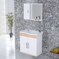 Kit Gabinete + Espelheira Para Banheiro 55,5Cm Mdf Verona Suspenso Branco E Aya Com Pia - Rorato - Rorato