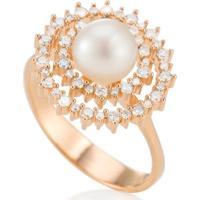 Anel Ouro Rosé Diamantes E Pérola Paris