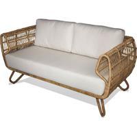 Sofa Tempe 2 Lugares Assento Cor Branco Com Base Aluminio Revestido Em Junco - 44789 - Sun House