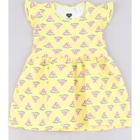 Vestido Infantil Estampado Melancia Sem Manga Com Babado Amarelo