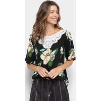 Blusa Ms Fashion Estampa Floral Guipir Feminina - Feminino-Preto