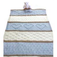 Manta Bebê Tricot Tricô 3 Cores Maternidade Recém Nascido Cod 1049.1 Azul