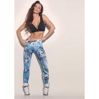 Legging Abstrata Easy Careâ® - Azul Claro & Branca - Super Hot