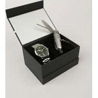 Kit De Relógio Analógico Orient Masculino + Canivete - Mbss1318 K233Pysx Prateado - Único
