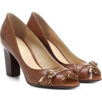 Peep Toe Couro Shoestock Salto Grosso Fivela - Feminino