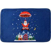 Tapete Para Banheiro Natal- Azul & Vermelho- 60X40Cmmabruk