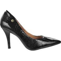 Sapato Scarpin Feminino Vizzano Verniz Croco Preto - 38