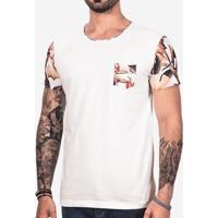 Camiseta Manga Floral Branca 101740