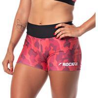 Short Feminino De Academia E Cross Training Rock Fit Camuflado Vermelho