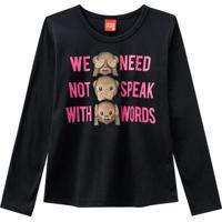 Blusa ''We Need Not Speak With Words''- Preta & Rosakyly