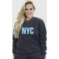 Blusa Moletom Feminino Moleton Básico Suffix Chumbo Estampa New York City Azul Bebe