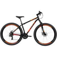 Mountain Bike Caloi Vulcan - Aro 29 - Freio A Disco Mecânico - Câmbio Traseiro Shimano - 21 Marchas - Preto/Laranja