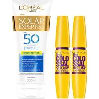 Kit 2 Máscaras De Cílios The Colossal Lavável + Protetor Solar L'Oréal Paris Fps50 200Ml - Feminino