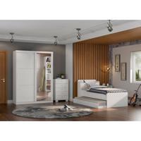 Dormitório Juvenil Suellen C/ Espelho Branco Madeirado Robel Móveis
