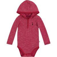 Body Infantil Bebê Menino Com Mangas Longas E Capuz Puc