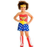 Fantasia Infantil Sulamericana - Mulher Maravilha Bebê - Tamanho P (1 Ano) - 22061 - Vermelho