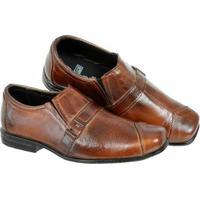 Sapato Social Infantil Leoppé 100% Couro Costura Cabedal - Masculino-Marrom