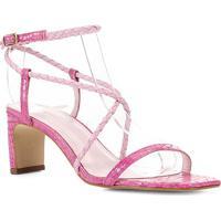 Sandália Couro Shoestock Bico Quadrado Croco Feminina - Feminino-Pink