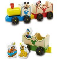 Trenzinho De Madeira Com Personagens De Madeira - Disney - Mickey Mouse - New Toys