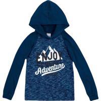 "Camiseta ""Enjoy Every Adventure""- Azul & Branca- Kidhering"