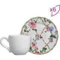 Conjunto De Xícaras De Café Floral- Branco & Rosa- 6Scalla Cerâmica