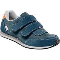 Tênis Em Couro Com Pespontos & Velcros- Azul Escuro & Brkea