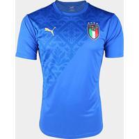 Camisa Seleção Itália Pré-Jogo 20/21 Puma Masculina - Masculino-Azul+Dourado