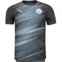 Camisa Pré-Jogo Manchester City 19/20 Puma - Masculina - Cinza/Azul