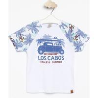 """Camiseta """"Los Cabos""""- Branca & Verde Claro- Infantilcostã£O Fashion"""