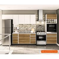 Cozinha Compacta Mali 8 Pt 8 Gv Nogal E Branca