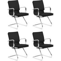 Conjunto Com 4 Cadeiras De Escritório Interlocutor Confort Fixa Preto