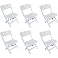 Conjunto Com 6 Cadeiras Dobravél Ripada Diamantina Branco
