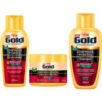Kit Niely Gold Compridos + Fortes Shampoo + Condicionador + Máscara - Unissex-Incolor